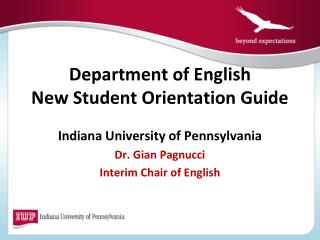Department of English New Student Orientation Guide Student Orientation