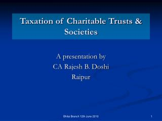 Taxation of Charitable Trusts & Societies