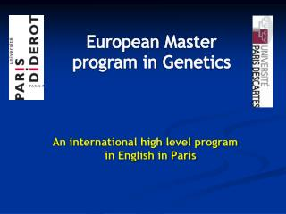 European  Master program in  Genetics