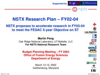 Martin Peng Oak Ridge National Laboratory, UT-Battelle, LLC For NSTX National Research Team