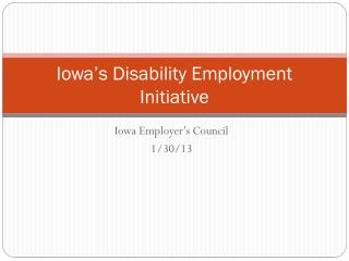 Iowa's Disability Employment Initiative