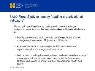 "5,000 Firms Study to identify ""leading organizational indicators"""