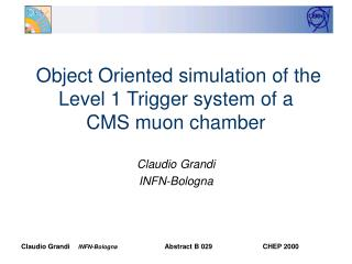 Object Oriented simulation of the Level 1 Trigger system of a  CMS muon chamber