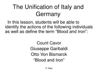The Unification of Italy and Germany