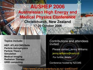 Topics include: HEP: ATLAS/CMS/Belle Particle Astrophysics Particle Theory Simulation