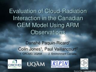 Evaluation of Cloud-Radiation Interaction in the Canadian GEM Model Using ARM Observations