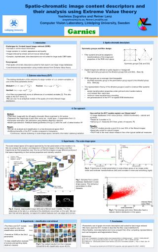 Spatio-chromatic image content descriptors and their analysis using Extreme Value theory