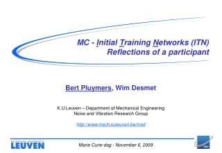 MC -  I nitial  T raining  N etworks (ITN)  Reflections of a participant