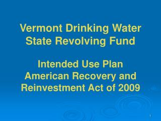 DWSRF Program Contacts Water Supply Division and Vermont Rural Water Association