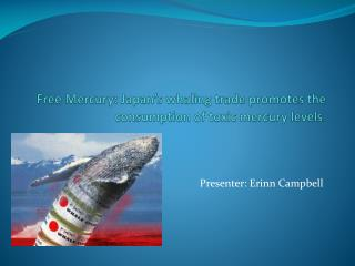 Free Mercury: Japan's whaling trade promotes the consumption of toxic mercury levels .