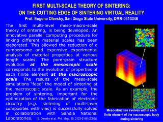 FIRST MULTI-SCALE THEORY OF SINTERING:  ON THE CUTTING EDGE OF SINTERING VIRTUAL REALITY
