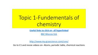 Topic 1-Fundementals of chemistry