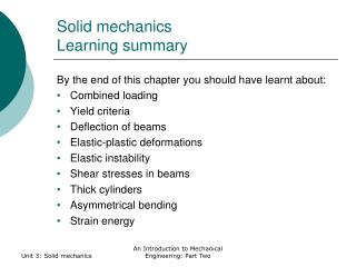 Solid mechanics Learning summary