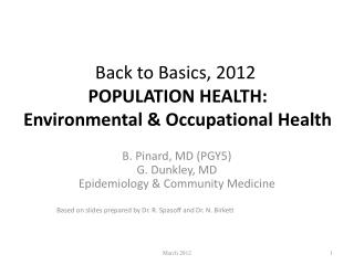 Back to Basics, 2012 POPULATION HEALTH: Environmental & Occupational Health