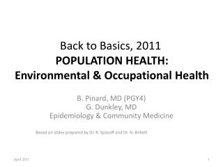 Back to Basics, 2011 POPULATION HEALTH: Environmental & Occupational Health