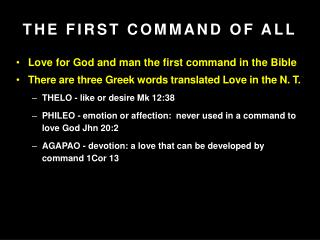 THE FIRST COMMAND OF ALL