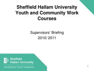 Sheffield Hallam University Youth and Community Work Courses