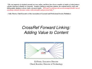 CrossRef Forward Linking:  Adding Value to Content