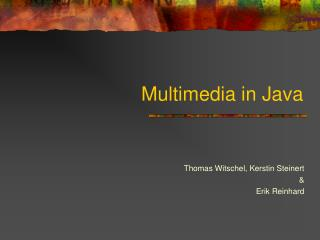 Multimedia in Java