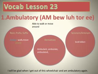 1.Ambulatory (AM  bew luh  tor  ee )