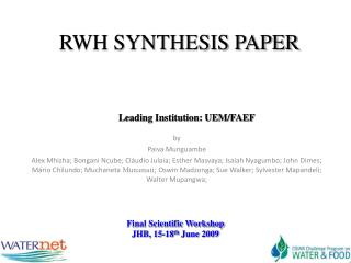 RWH SYNTHESIS PAPER