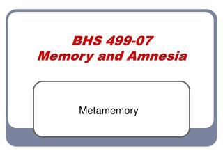 BHS 499-07 Memory and Amnesia