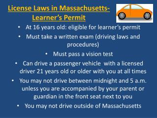 License Laws in Massachusetts- Learner's Permit