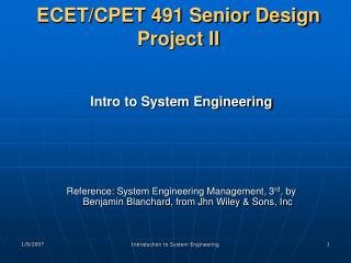 ECET/CPET 491 Senior Design Project II