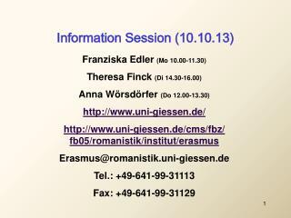 Information Session (10.10.13)