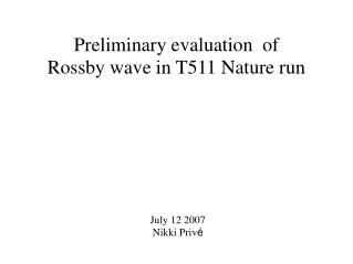 Preliminary evaluation  of  Rossby wave in T511 Nature run