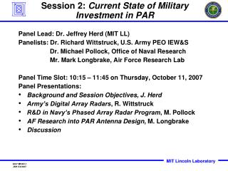 Session 2:  Current State of Military Investment in PAR