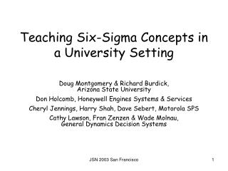 Teaching Six-Sigma Concepts in a University Setting