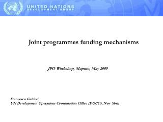 Joint  programmes  funding mechanisms
