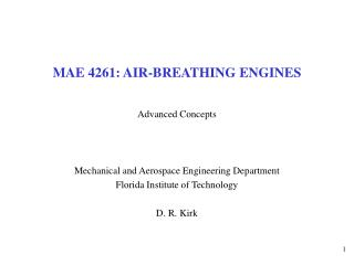 MAE 4261: AIR-BREATHING ENGINES