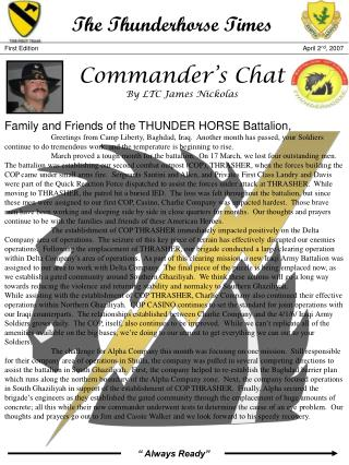 Commander's Chat By LTC James Nickolas