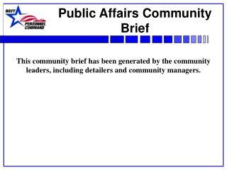 Public Affairs Community Brief