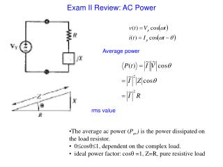 Exam II Review: AC Power