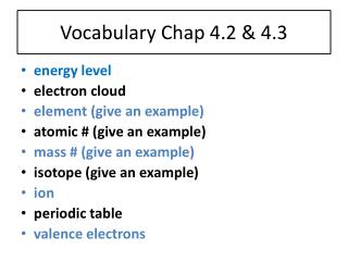 Vocabulary Chap 4.2 & 4.3