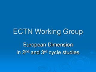 ECTN Working Group