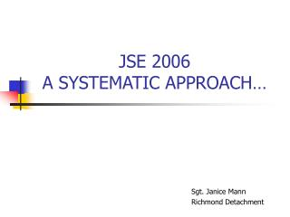 JSE 2006 A SYSTEMATIC APPROACH…