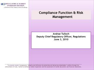 Compliance Function & Risk Management