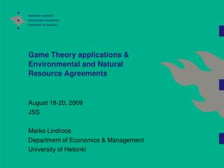 Game Theory applications & Environmental and Natural Resource Agreements