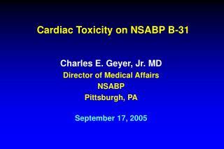 Cardiac Toxicity on NSABP B-31
