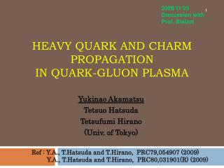 Heavy Quark and charm propagation in Quark-Gluon plasma