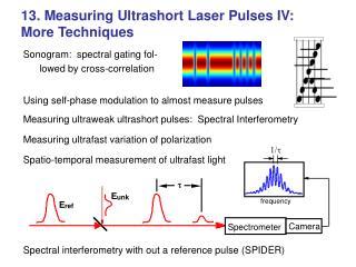 13. Measuring Ultrashort Laser Pulses IV:  More Techniques