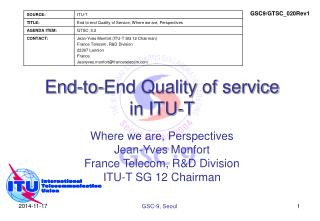 End-to-End Quality of service in ITU-T