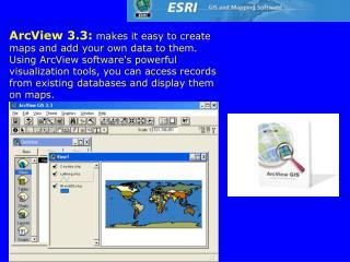 The ArcGIS Desktop The ArcGIS Desktop includes a suite of integrated applications: ArcMap