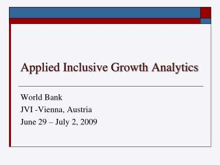 Applied Inclusive Growth Analytics