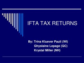 IFTA TAX RETURNS