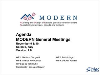 Agenda MODERN General Meetings  November 9 & 10 Catania, Italy Version: 1.0
